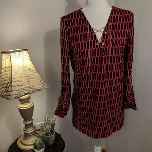 Michael Kors Top with Metal Chain Tie Size S